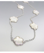 "ELEGANT 18kt White Gold Mother of Pearl Shell CLOVER CLOVERS 32"" Long Ne... - $59.99"