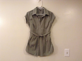 Charlotte Russe Stretch Light Green Gray V-neck Long Blouse size L Cup sleeves