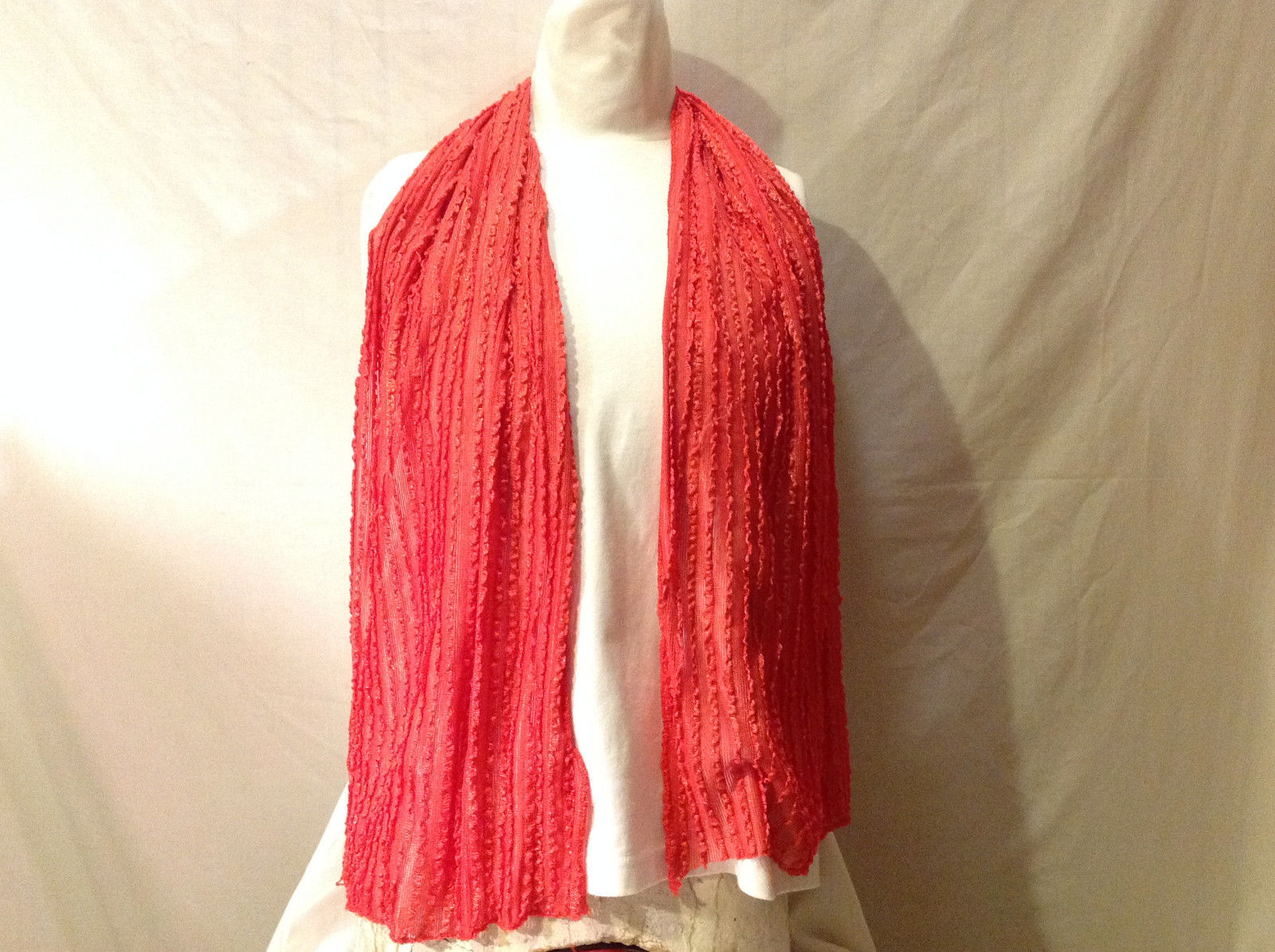 "AZRA Women's Scarf  73"" x 22"" Salmon Coral Pink Silky Feel Light Weight Textured"