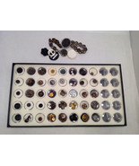 Assorted Lot of 40+ Sewing Buttons Antique Vintage w/ 5x10  Display Case - $296.99