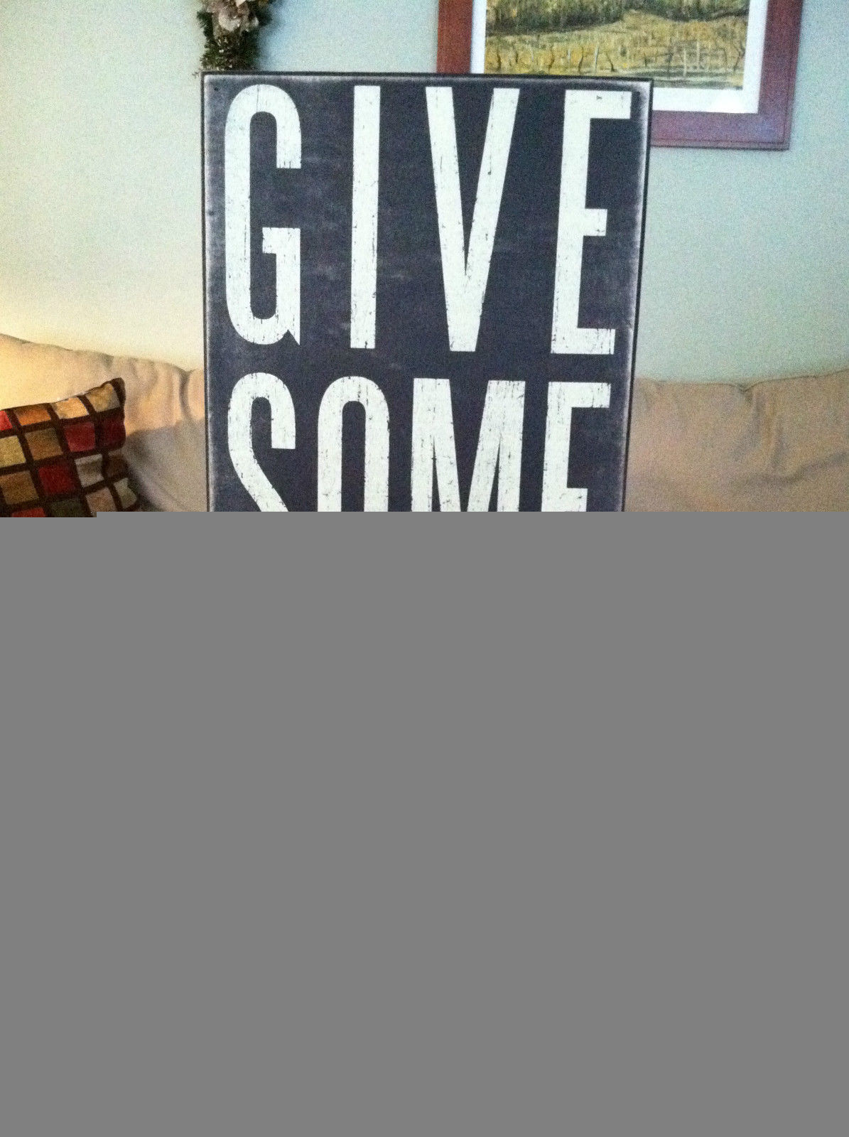 "Black Wooden Box Sign ""Give Something Back"""