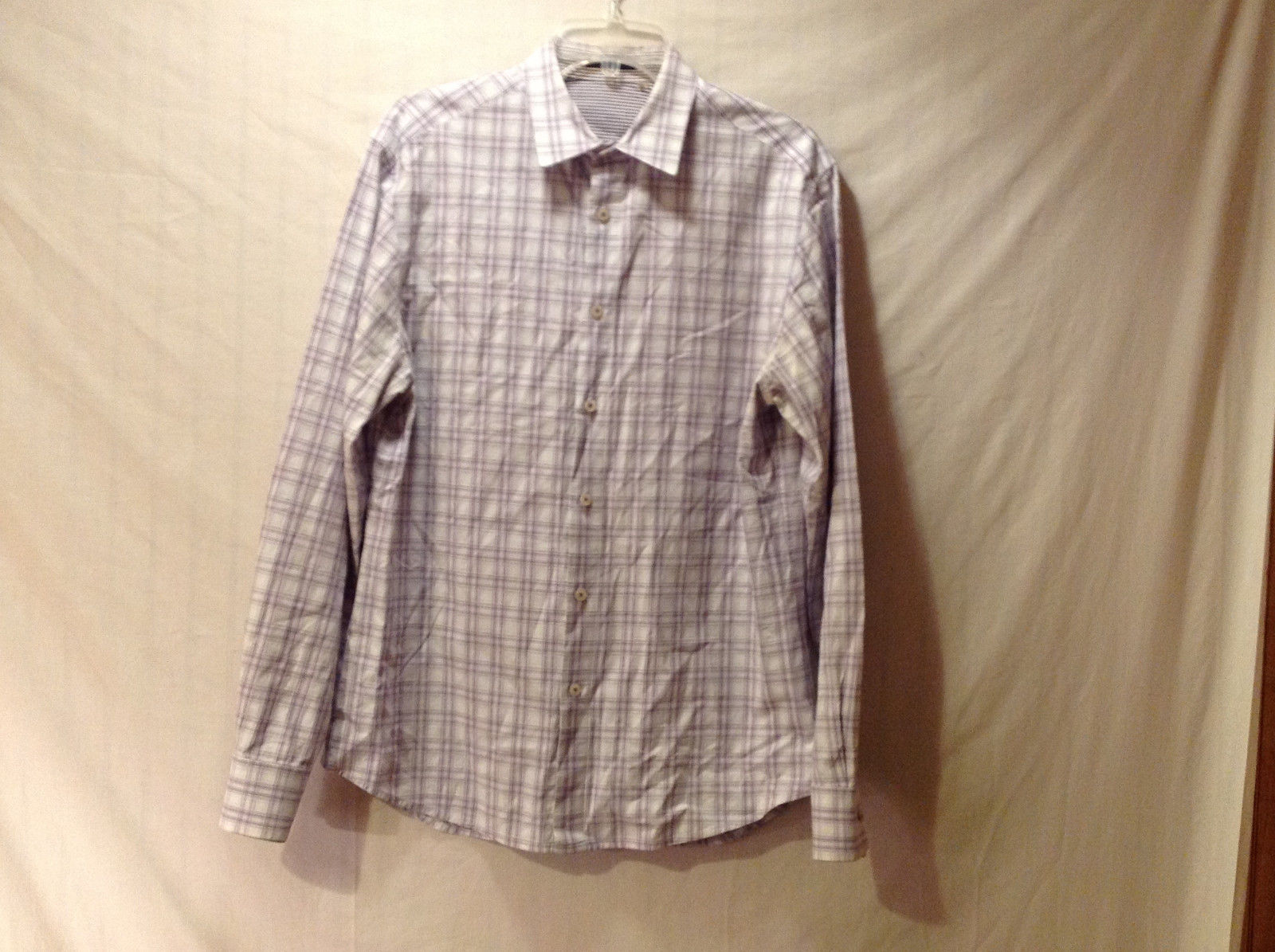 Elie Tahari Men's Size M Shirt Button Down Plaid Check in Lavender Gray White
