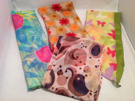 Lot of 4 Women's Scarves Abstract Prints in Red Orange Yellow Green Blue Purple