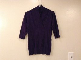 IZ Byer California Women's Dark Purple Sweater, Size L, V-Neck 1/2 Sleeve