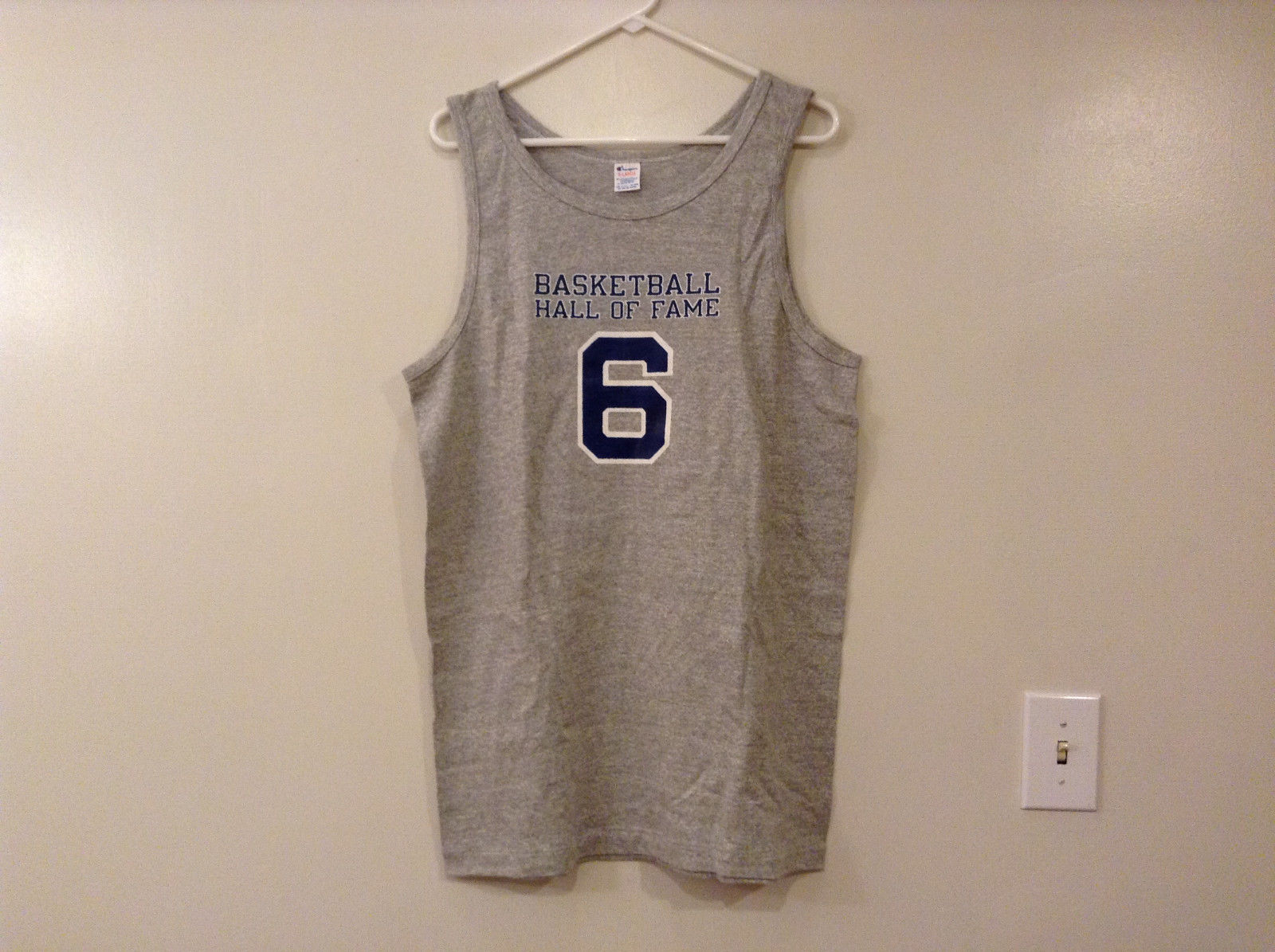 Mens Champions Graphic Gray Sleeveless Basketball #6 T-Shirt Tank Top Size XL
