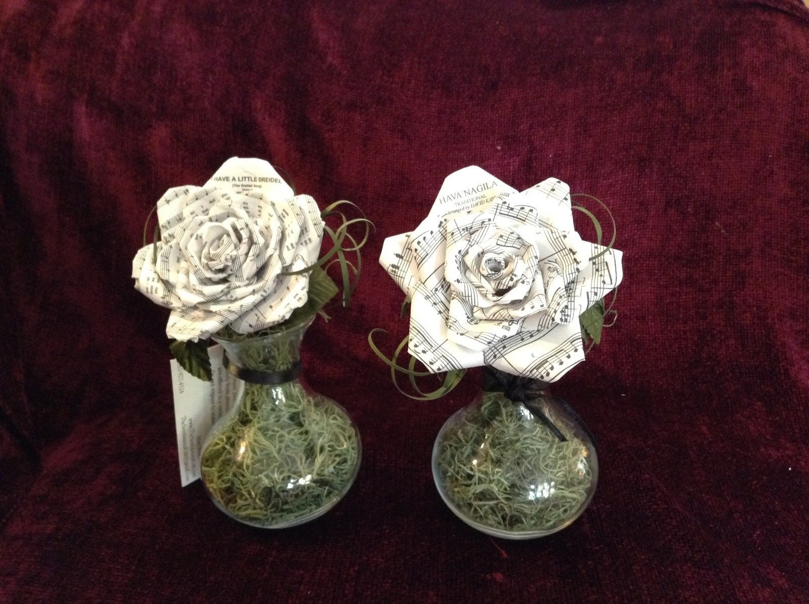 Set of Two Origami Flower Made from Sheet Music in Clear Glass Small Vases
