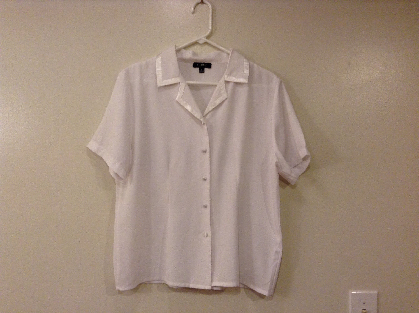 Womens Elementz White 100% polyester Short sleeve Blouse Shirt, size XL