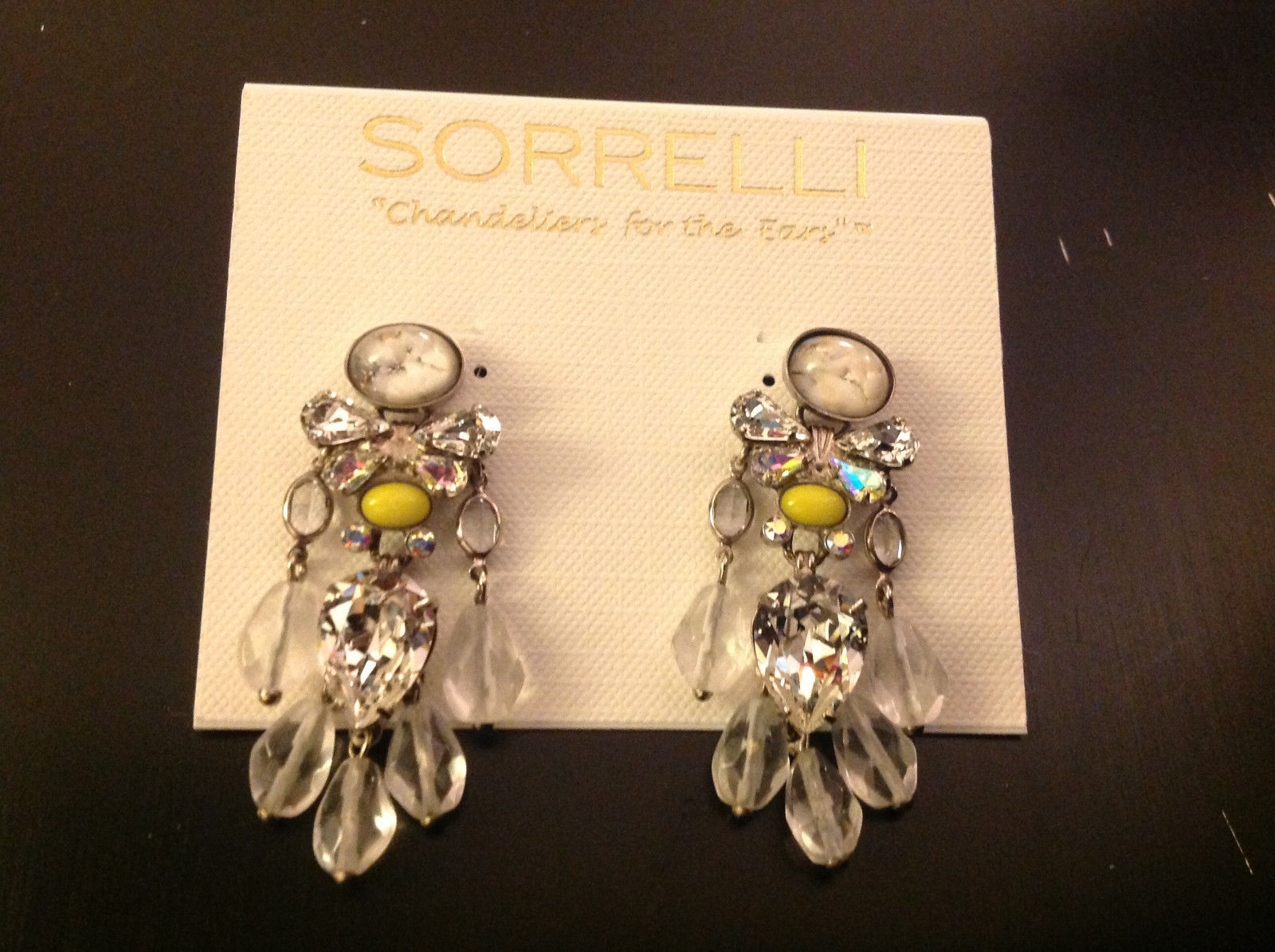Vintage Inspired Lemon Yellow and White Crystal Drop Post Sorrelli Earrings