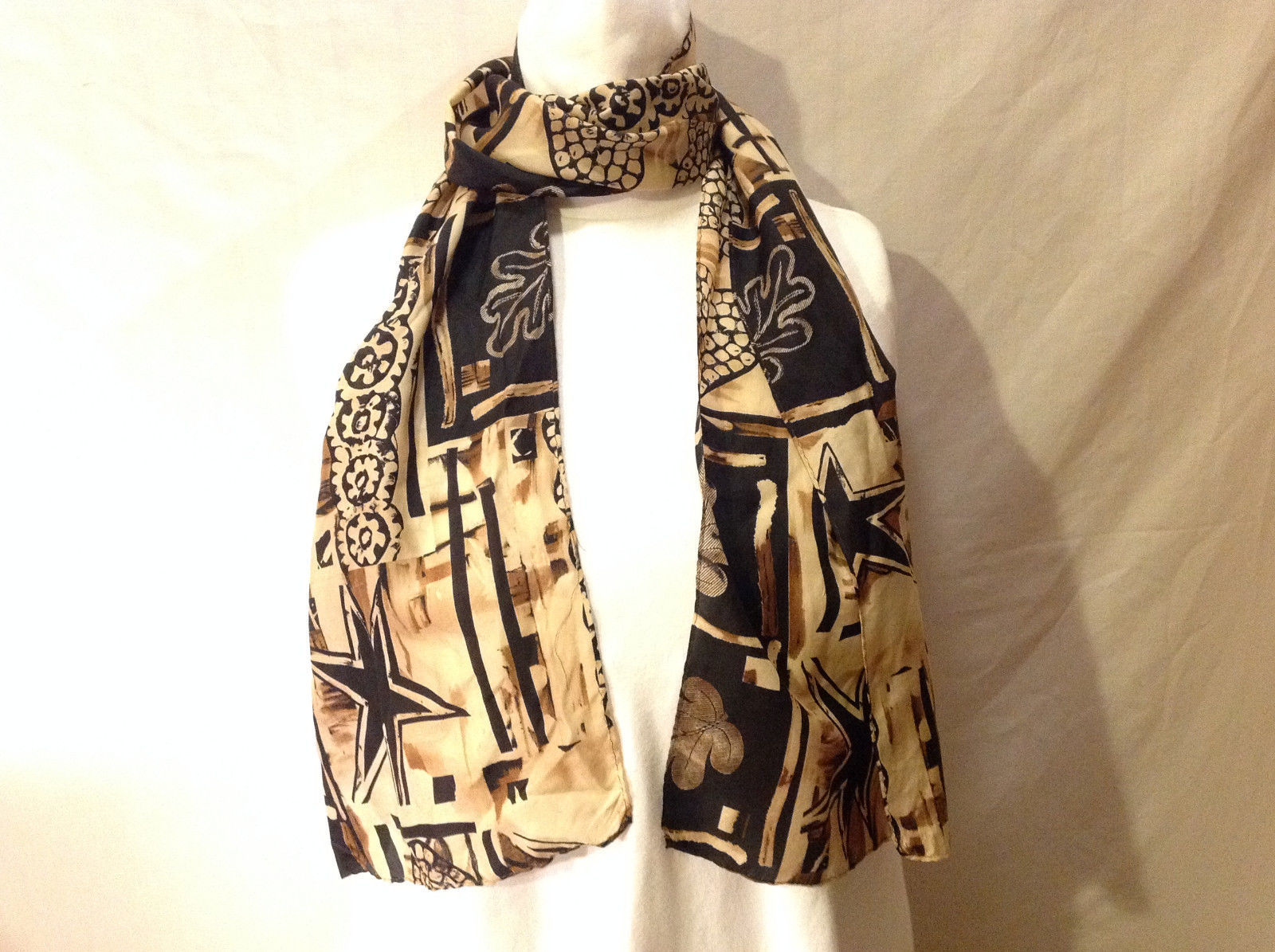 "Women's Monochrome 62""x12"" Scarf Black Brown Beige Abstract Heart & Nature Print"