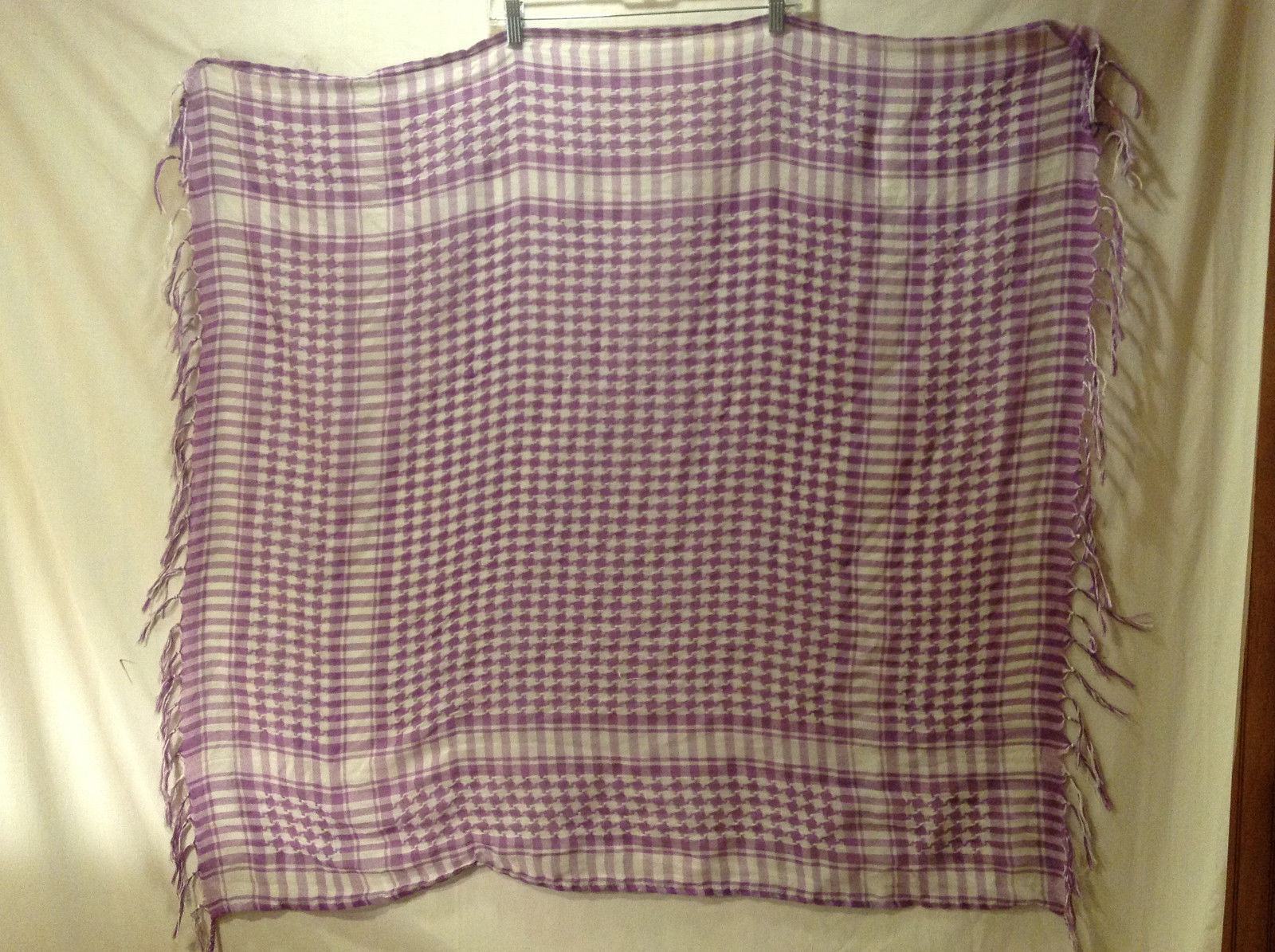 "Women's Square Scarf Purple + White Houndstooth & Grid Print w/ 4"" Fringe Trim"