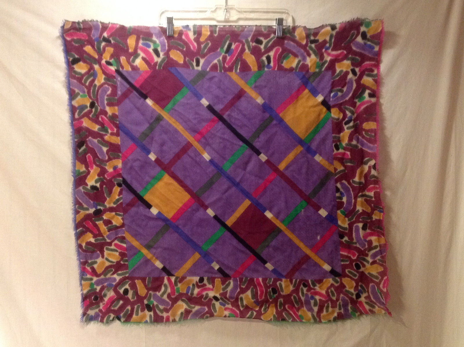 Women's Square Scarf Shawl Abstract Modernist Diamond Print Purple Pink Blue etc