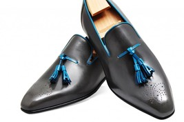 Handmade mens shoes Mens black Tassels leather shoes Men dress leather s... - $159.99