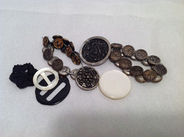 Assorted Lot of 40+ Sewing Buttons Antique Vintage w/ 5x10  Display Case image 2