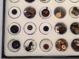 Assorted Lot of 40+ Sewing Buttons Antique Vintage w/ 5x10  Display Case image 4