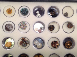 Assorted Lot of 40+ Sewing Buttons Antique Vintage w/ 5x10  Display Case image 6