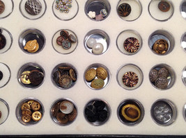 Assorted Lot of 40+ Sewing Buttons Antique Vintage w/ 5x10  Display Case image 7
