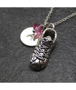 Personalized Running Shoe Necklace Custom Initial Swarovski Birthstone C... - $23.99+