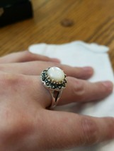 NEW Ladies 925 Vintage Fashion Sterling Silver Mother Of Pearl Marcasite... - $68.00