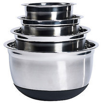 Mixing Bowl Set Stainless Steel w Silicone Base 4 pc Nesting Kitchen Baking - $947,71 MXN