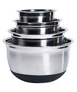 Mixing Bowl Set Stainless Steel w Silicone Base 4 pc Nesting Kitchen Baking - £36.77 GBP