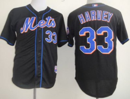 Youth/Kids #33 Matt Harvey Black New York Mets Majestic Mlb Jersey - $37.99
