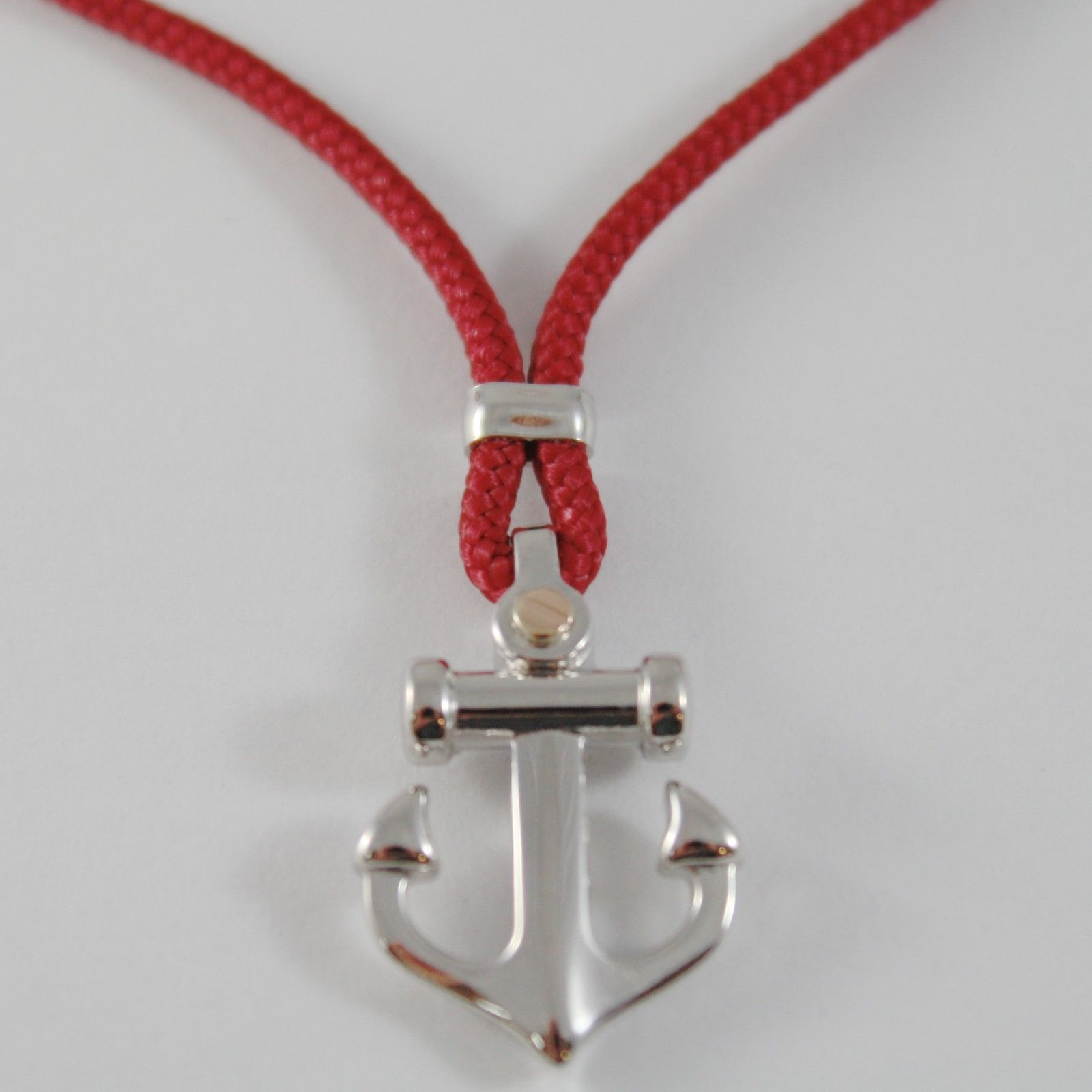 18K ROSE GOLD & SILVER ANCHOR NECKLACE RED NAUTICAL ROPE ZANCAN MADE IN ITALY