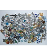 Lot of 177 CATHOLIC MEDALS 1lb Crucifix Pins rosary Enamel vintage pocke... - $186.99