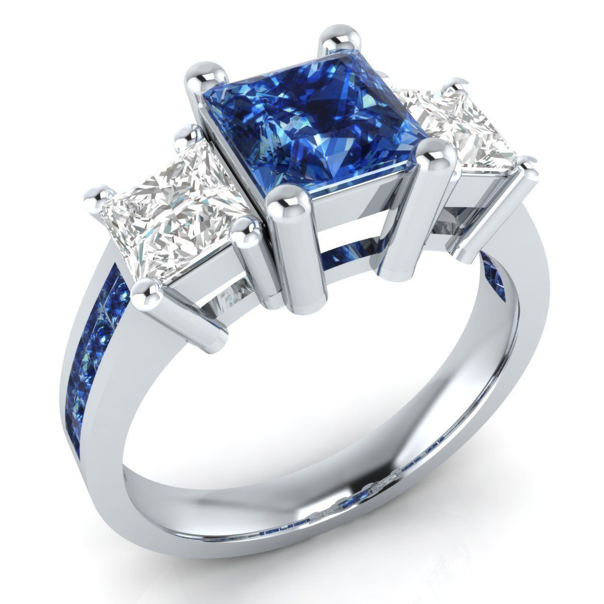 2 74ct princess cut blue white sapphire sterling