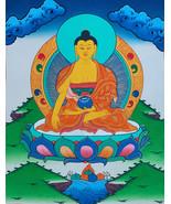 Hand-painted Shakyamuni Buddha Tibetan Thangka Art on Canvas, 12 x 15-Inch - $67.00