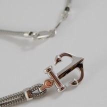 18K ROSE GOLD & SILVER ANCHOR NECKLACE GREY NAUTICAL ROPE ZANCAN MADE IN ITALY image 2