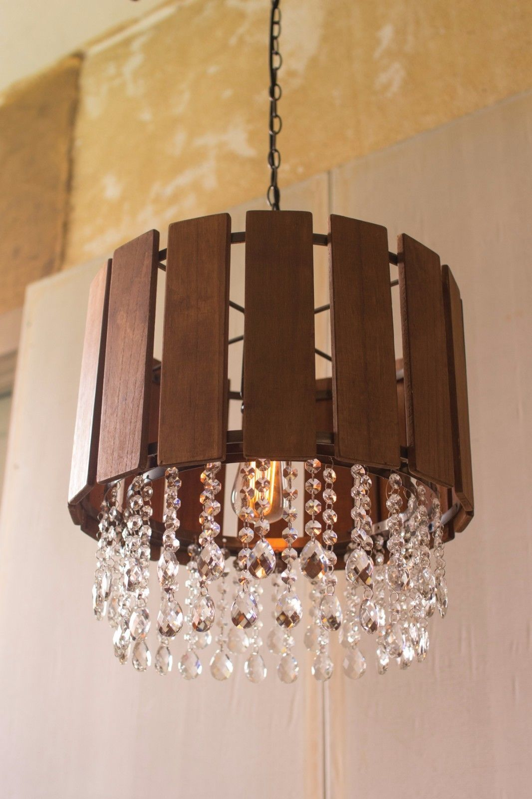 Contemporary Slat Wood Pendant Light with Glass Gems Chandelier,17'' x 17''H.