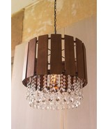 Contemporary Slat Wood Pendant Light with Glass Gems Chandelier,17'' x 1... - $252.45