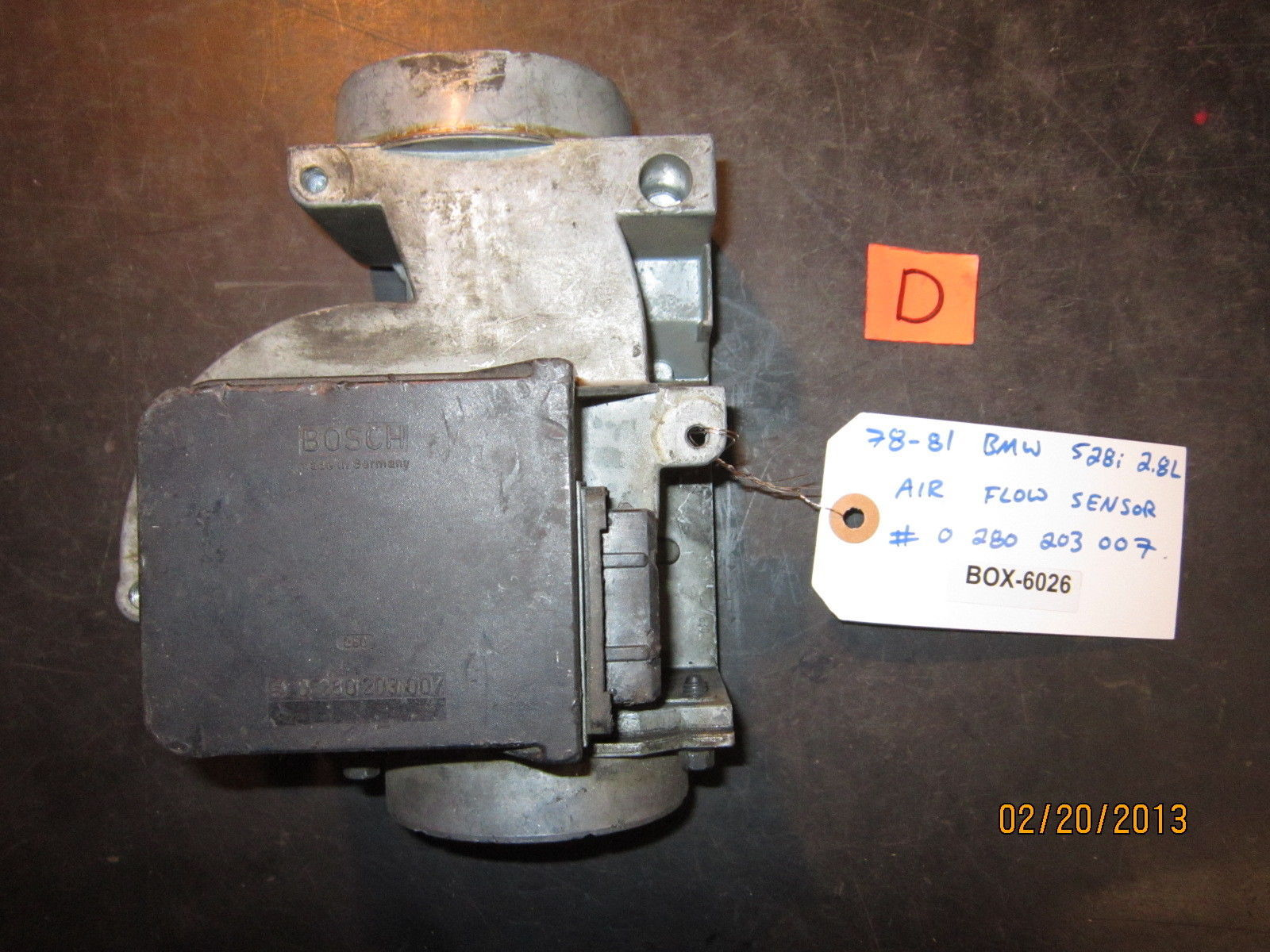 78 79 80 81 BMW 528i 2.8L AIR FLOW SENSOR #0 280 202 072 *See item description*