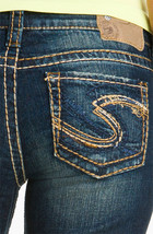 SILVER JEANS Sale Buckle Mid Rise Thick Stitch Lola Denim Jean Shorts 28... - $29.97