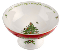 Spode Compote Salad Bowl Fine Porcelain Footed Christmas Tree Dinnerware... - $44.10