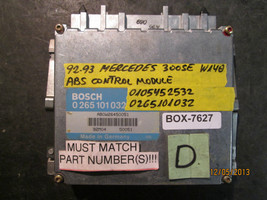 92 93 Mercedes 300 Se W140 Abs Control Module #0105452532/0265101032 *See Item* - $84.14