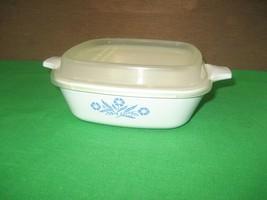 Corning Ware Blue Cornflower Casserole Bakeware P-41-B White Dish Plasti... - $9.85