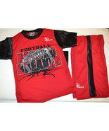 Mecca     Boys  2 Piece Short Set Size  4 NWT Black Red  Football  - $19.78
