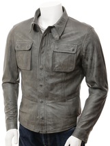 QASTAN Men's Black / Grey Sheep Nappa Leather Shirt Jacket  QMJ13 - $149.00+