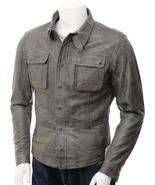 QASTAN Men's Black / Grey Sheep Nappa Leather Shirt Jacket  QMJ13 - $149.00+