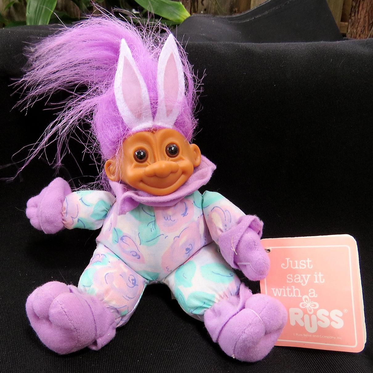 Vintage NWT Russ Easter Bunny Troll Doll Plush Rabbit Ears Holiday Purple Hair - $16.49