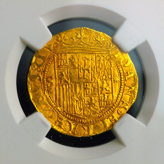 "SPAIN 1 ESCUDO 1516 - 1556 ""SEVILLE"" GOLD COB DOUBLOON NGC 61 MS!"