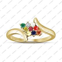 Multi-Color Rd Gemstones Navratna Designer Ring Solid 14K Yellow Gold 92... - $93.99