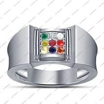 Brilliant Multi Color Navratna Ring White Platinum Plated 925 Sterling S... - $59.21