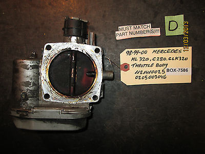 98 99 00 MERCEDES ML 320,C280,CLK320 THROTTLE BODY #1121410025/0205003046