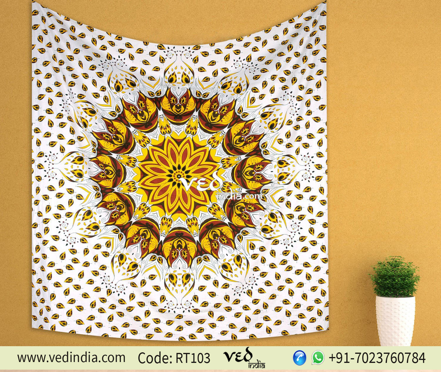 Mandala tapestry wall hanging yellow ombre bed sheet for Fomic sheet wall hanging