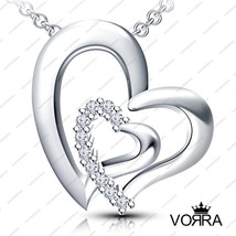 "Pure.925 Sterling Silver White CZ Double Heart Pendant+18""Chain For Women's - $15.66"