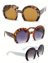 Cropped Shaved Round Frame Womens Sunglasses Retro - $10.97