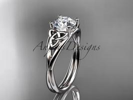 Platinum  celtic trinity knot wedding ring Moissanite center stone CT7189 - $1,200.00