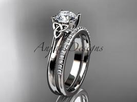 Celtic wedding ring set, 14k white gold celtic trinity knot wedding ring... - $1,795.00